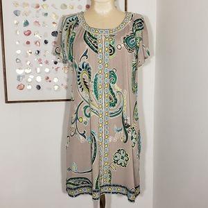 Alfani taupe and green paisley dress size PM